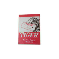 The TIGER Razor-Blades are made only from the best Chrome-Steel. They are manufactured and packaged on fully automatic machinery, ensuring consistent quality and sharpness, and hygiene in the packaging process. The proprietors guarantee that all blades bearing the TIGER Trade-Mark are of identical shaving quality and of uniform excellence.